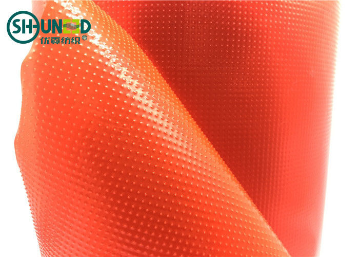 Red Color Embroidery Backing Fabric 100% LDPE Glue Hot Melt Fusible Film For Computer Embroidery